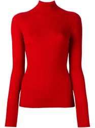 Joseph Ribbed High Neck Jumper Red