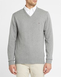 Tommy Hilfiger Grey Cotton And Cashmere V Neck Sweater