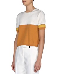 Fendi Sheer Seamed Cashmere Blend Colorblock Crop Top White Honey