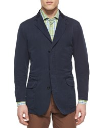 Kiton Cotton Three Button Jacket With Suede Trim Navy