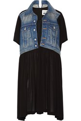 Junya Watanabe Layered Denim And Crepe Dress Black