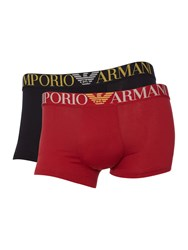 Armani Jeans 2 Pack Of Christmas Logo Trunks Black