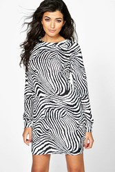 Boohoo Animal Print Brushed Knit Bodycon Dress White
