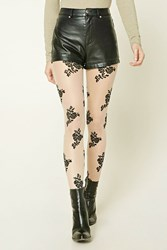 Forever 21 Sheer Floral Applique Tights Nude Black