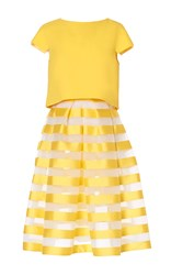 Carla Zampatti Striped Circular Skirt Yellow
