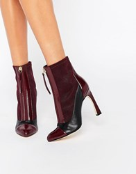 Lost Ink Avis Zip Front Heeled Ankle Boots Burgundy Navy Red