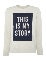 Lee Crew Neck This Is My Story Printed Sweatshirt Off White