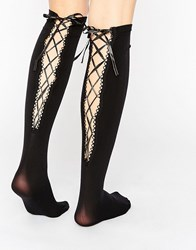 7X Long Socks With Lace Up Back Black