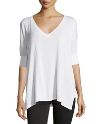 Neiman Marcus Cotton V Neck Dolman 3 4 Sleeve Sweater White