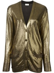 Saint Laurent Draped Cardigan Metallic