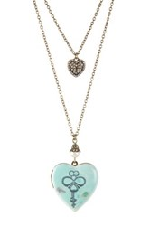 Betsey Johnson Pave Heart And Key Locket Convertible Double Chain Necklace Green