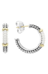 Lagos Women's 'Black And White Caviar' Hoop Earrings White Gold
