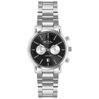 Rotary Gb02730 04 Men's Sports Avenger Chronograph Stainless Steel Bracelet Strap Watch Silver Black