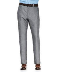 Isaia Solid Wool Linen Trousers Gray