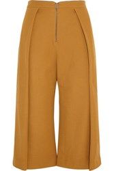 Topshop Unique High Rise Pleated Wool Twill Culottes Mustard