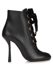 Lanvin Velvet Lace Leather Ankle Boots Black