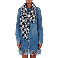The Elder Statesman Women's Plaid Cashmere Twill Scarf Navy