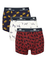 Joules Crown Top Dog Trunks Pack Of 3 Navy Burgundy White