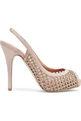 Valentino Embellished Mesh And Suede Pumps Taupe
