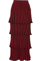 Sonia Rykiel Tiered Metallic Striped Knitted Maxi Skirt