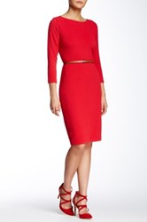 Sharagano Textured Boatneck Faux Leather Belted Dress