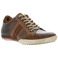 Dune Tipple Panel Leather Trainers Tan