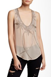 Romeo And Juliet Couture Beaded Tank Beige