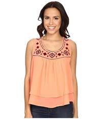Rock And Roll Cowgirl Tank Top B5 6393 Coral Women's Sleeveless