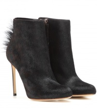 Francesco Russo Calf Hair Ankle Boots Black