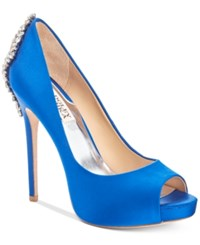Badgley Mischka Kiara Platform Evening Pumps Women's Shoes Sapphire Satin