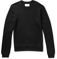 Quilted Loopback Cotton And Modal Blend Jersey Sweatshirt Black