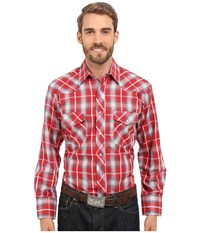 Roper 0297 Red Grey Plaid Red Men's Long Sleeve Button Up