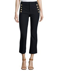 Derek Lam Cropped Flare Trousers W Sailor Buttons Midnight Navy
