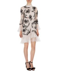 Erdem Constance Ruffle Trim Beaded Dress White Silver White Silver