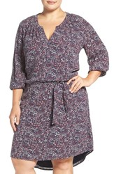 Caslonr Plus Size Women's Caslon Print Split Neck Tie Waist Dress Navy Floral Print
