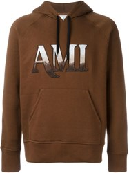 Ami Alexandre Mattiussi Embroidered Logo Hoodie Brown