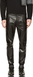 Paul Smith Black Leather Slim Trousers