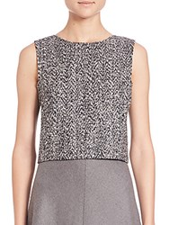 Theory Pagia Tweed Crop Top Black White