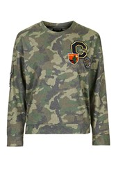 Topshop Camo Badge Sweatshirt Multi