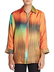 Josie Natori Silk Ombre Stripe Blouse Multicolor