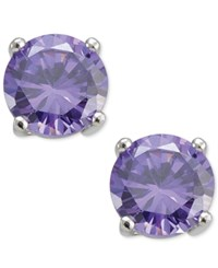 Giani Bernini Purple Cubic Zirconia Round Stud Earrings In Sterling Silver Only At Macy's