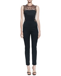 Alexander Mcqueen Leopard Print Solid Fitted Jumpsuit