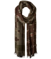 Manila Grace Printed Scarf Brown Mix