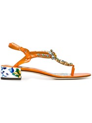 Dolce And Gabbana Embellished Sandals Yellow And Orange