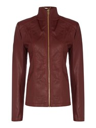 Andrew Marc New York Pu Jacket With Central Zip Dark Red