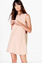 Boohoo Cut Out Tabard Side Shift Dress Nude