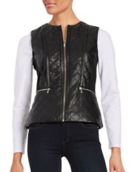 Karl Lagerfeld Quilted Faux Leather Vest Black