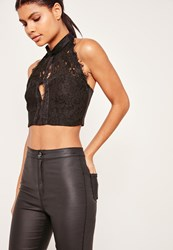 Missguided High Neck Lace Open Front Crop Black