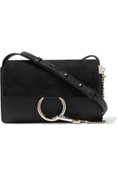 Chloe Faye Small Suede And Leather Shoulder Bag Black