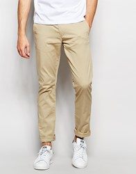Selected Homme Slim Fit Chinos With Italian Leather Belt Beige